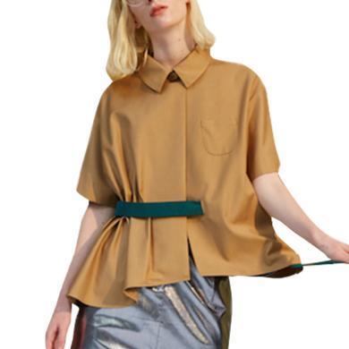 纯色短袖衬衫女2019夏季新款法式小众设计感宽松休闲心机上衣女潮