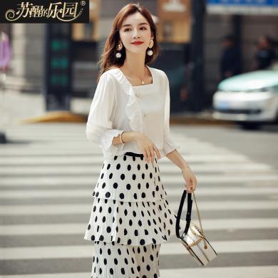 蘇醒的樂園白色襯衫女裝夏裝2019新款韓版氣質時尚淑女一字領喇叭袖上衣襯衣SXCSl9104