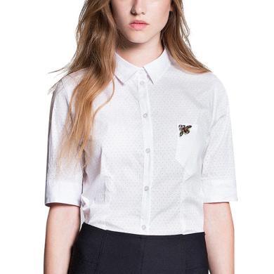 tobebery小清新白色短袖ins襯衫2019夏季新款減齡易搭學院風上衣