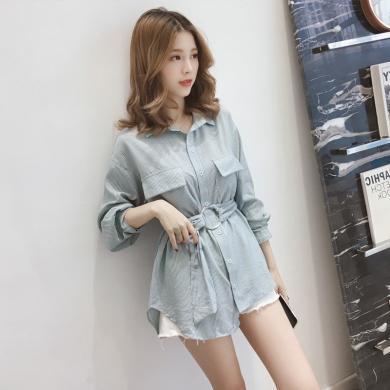CAVS2019秋季新款韩版长袖复古港味设计感小众条纹衬衫女初秋上衣衬衣HD7982