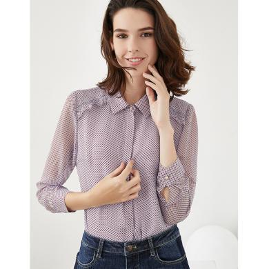 Ofiman奥菲曼2019秋季新款紫色波点POLO领衬衫女长袖修身轻熟上衣S1-W9707-DB
