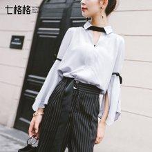 新品 七格格 洋气小衫长袖女气质2019新款春装宽松很仙的上衣韩版雪纺衬衫