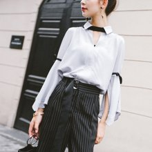 新品 七格格 洋氣小衫長袖女氣質2019新款寬松很仙的上衣韓版雪紡襯衫