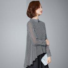 OUBOGJ 雪纺衫长袖女宽松春秋新款女装韩版娃娃领条纹雪纺上衣显瘦C02877