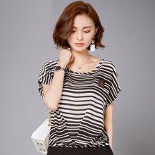 OUBOGJ 雪纺衫短袖宽松韩版女装夏装新款气质雪纺上衣圆领条纹t恤B00909