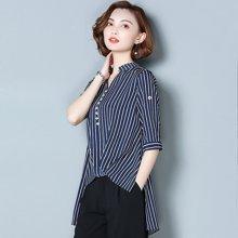 OUBOGJ 新款韩版宽松中袖v领雪纺衬衣前短后长竖条纹衬衫女夏B08462
