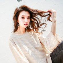新品 七格格 2018新款雪纺衫衬衫女蝴蝶结甜美系带蕾丝喇叭袖上衣女长袖荷叶边