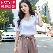 韩都衣舍2018夏装新款女装韩版纯色短袖拼接蕾丝衫JM8645蒖0328