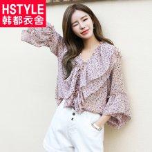 韩都衣舍2018新款女装夏装韩版显瘦印花荷叶袖雪纺衫GS9711緈