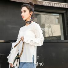 新品 七格格 蕾丝打底衫春装2018新款女装百搭雷丝秋长袖韩版仙雪纺衫上衣小衫