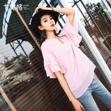 新品 七格格 雪纺短袖夏上衣小衫女2018新款韩版百搭春装仙甜美低领网纱打底衫