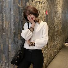 修允菲2019春季新款韩版单排扣衬衫女长袖豹纹拼色时尚打底衬衣A1263