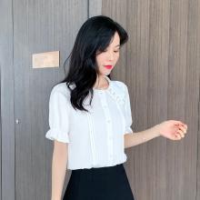 搭歌夏季新款娃娃领白色雪纺衬衫女装短袖韩版百搭衬衣洋气上衣 B3060