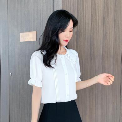 搭歌夏季新款娃娃領白色雪紡襯衫女裝短袖韓版百搭襯衣洋氣上衣 B3060
