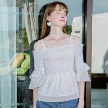 刊菲 夏季新款女装性感一字领五分袖条纹气质百搭小衫 58977