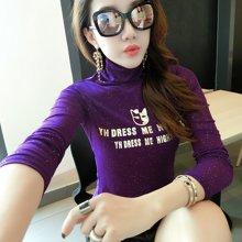 妙芙琳 清倉2018秋季新款韓版修身款高領網紗印花上衣T恤打底小衫潮