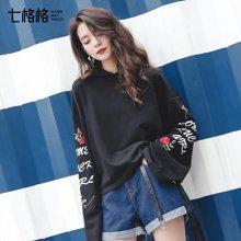 新品 七格格卫衣女新款韩版bf宽松刺绣绑带连帽上衣女装潮