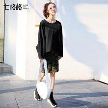 新品 七格格 黑色圆领卫衣女装2018新款春装韩版宽松蝙蝠袖长袖学生套头上衣潮