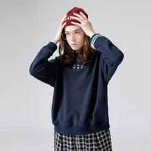 初语2018冬装新款纯棉可爱卫衣女薄款 圆领套头宽松休闲长袖女装8740521023