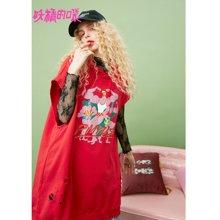 妖精的口袋Y酷衛衣女潮秋裝2018新款破洞紅色chic韓版連帽衛衣女J