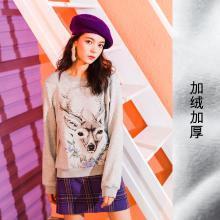 七格格长袖卫衣女秋冬季韩版chic百搭宽松学生印花套头短上衣