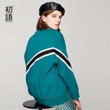 初语撞色条纹拼接落肩袖套头卫衣2018秋装新款宽松韩版上衣女8830521015