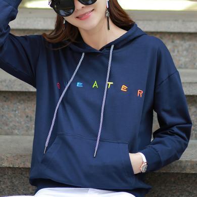 初秋上衣女2019新款韩版卫衣女连帽chic薄款套头外套女 WK2122