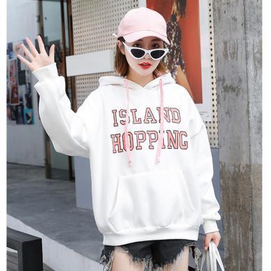 綺娑 加絨加厚個性連帽衛衣女秋冬季新款時尚字母印花寬松顯瘦長袖上衣