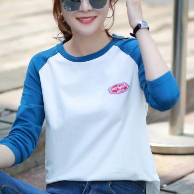 時尚解放韓系美式復古風英文字母插肩袖學生寬松長袖棉t恤打底衫女9614