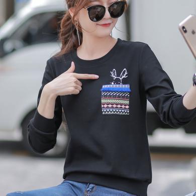 时尚解放2019新款卫衣女装宽松韩版个性潮流2019秋季黑色长袖t恤女insS8573