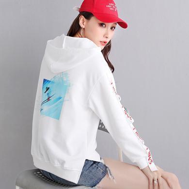MUYANG秋季女裝新款印花連帽衛衣9005