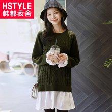 韩都衣舍2018新款女装春装韩版中长款假两件针织衫毛衣JQ8705樰