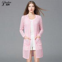 洛樊2017夏季新款女装欧美中长款纯色薄镂空亚麻空调针织开衫LF272032365
