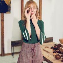 BANANA BABY秋季新款喇叭袖针织衫女日系甜美七分袖套头毛衣D74M070