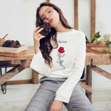 BANANA BABY新款玫瑰刺绣喇叭袖毛衣女秋冬韩版套头针织衫D74M010