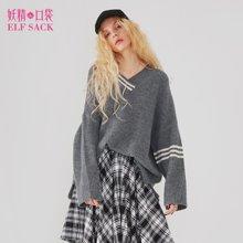 妖精的口袋春装2018新款v领前短后长bf风宽松套头ins保暖毛衣女A-8102003