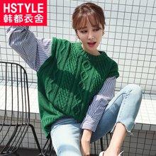 韓都衣舍2018韓版女裝秋裝新款寬松套頭假兩件針織衫毛衣JM8887蒖