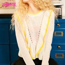 妖精的口袋Y短款通勤上衣秋裝2018新款優雅低圓領打底針織衫女J