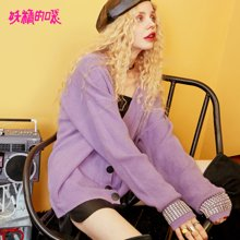妖精的口袋Y短款開衫秋裝2018新款韓版V領通勤甜美紫色毛衣女Q