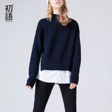 初语2018春新款 高领套头拼接条纹毛衣针织衫宽松假两件上衣女8730323014