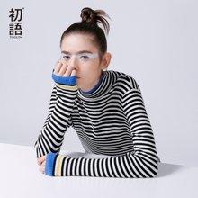 初语2018秋冬新款黑白条纹针织衫女套头半高领修身毛衣打底衫薄8640423607