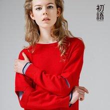 初语2018春秋新款宽松套头打底小清新毛衣女假两件长袖圆领针织衫8730423007