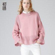 初语新款 宽松百搭圆领套头长袖毛衣针织衫女打底衫上衣8730323007