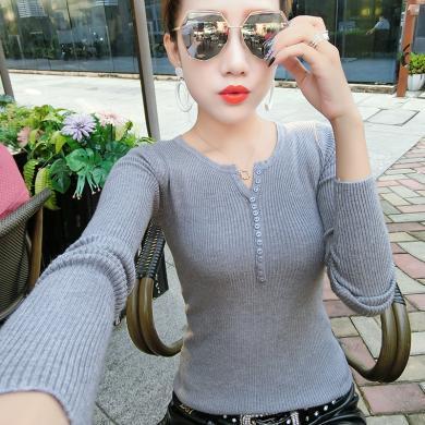 綺娑 秋季新款百搭修身V領長袖針織衫女套頭鈕扣裝飾打底上衣