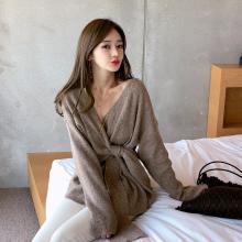 绮娑 冬季针织衫女新款韩版港味气质系带chic时尚毛衣显瘦百搭上衣