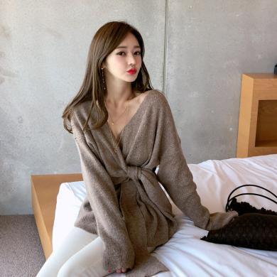 綺娑 冬季針織衫女新款韓版港味氣質系帶chic時尚毛衣顯瘦百搭上衣
