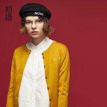 初語2018春裝新款 羊毛圓領純色合身紐扣開衫毛衣8810313007