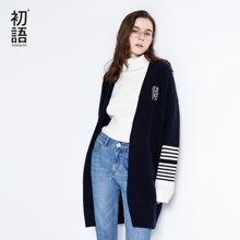 初语 2018春装新款 宽松条纹中长款慵懒薄款针织衫女开衫薄外套8810313000