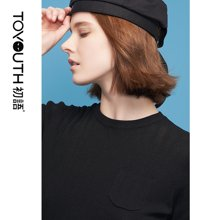 初语夏季新款 chic罩衫复古净色修身短袖上衣黑色薄款打底针织衫8820323009