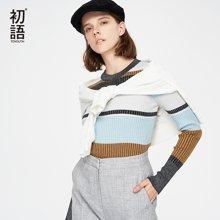 初语秋季新款 圆领套头撞色条纹修身毛衣8830423019